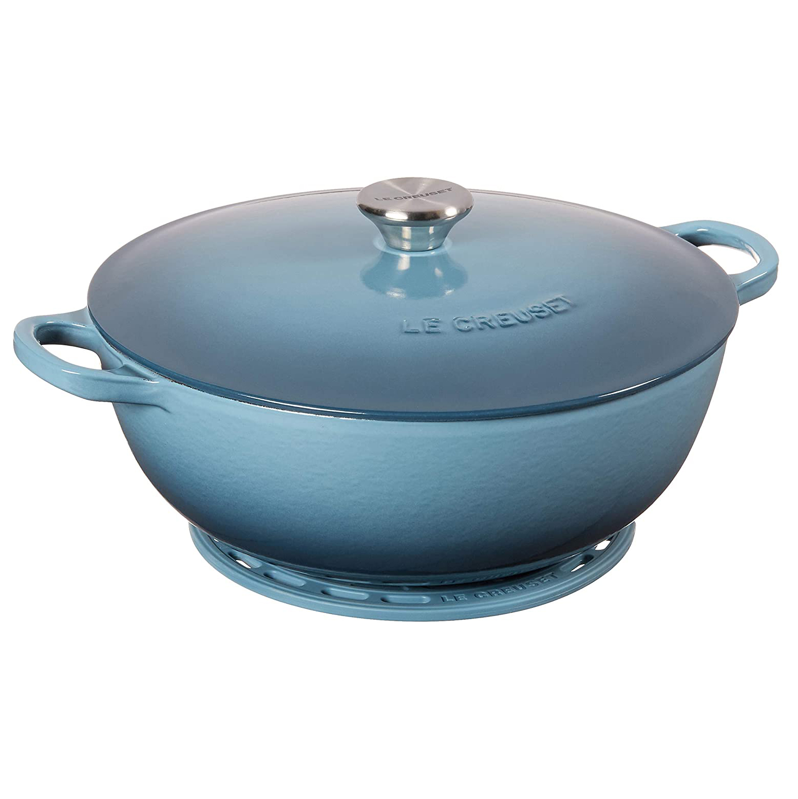 Le Creuset Enameled Cast Iron Curved Round Chef's Oven with Silicone French Trivet, 4.5 qt., Marine