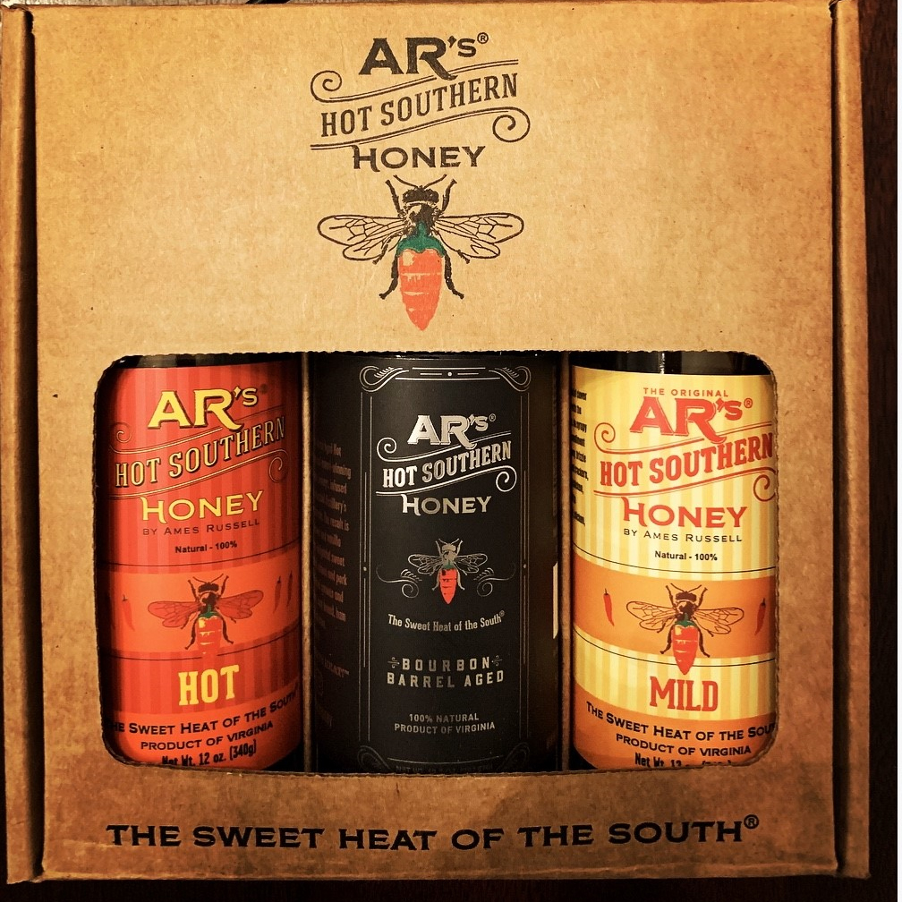 AR's Hot Southern Honey Sampler 3-Pack in a cardboard box