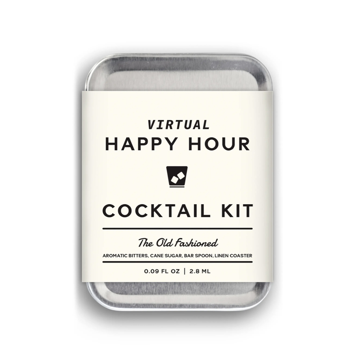 "Aluminum tin with ""Virtual Happy Hour Cocktail Kit"" label"