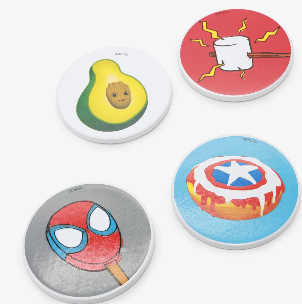 BoxLunch Marvel Eat the Universe Coaster Set with four coasters