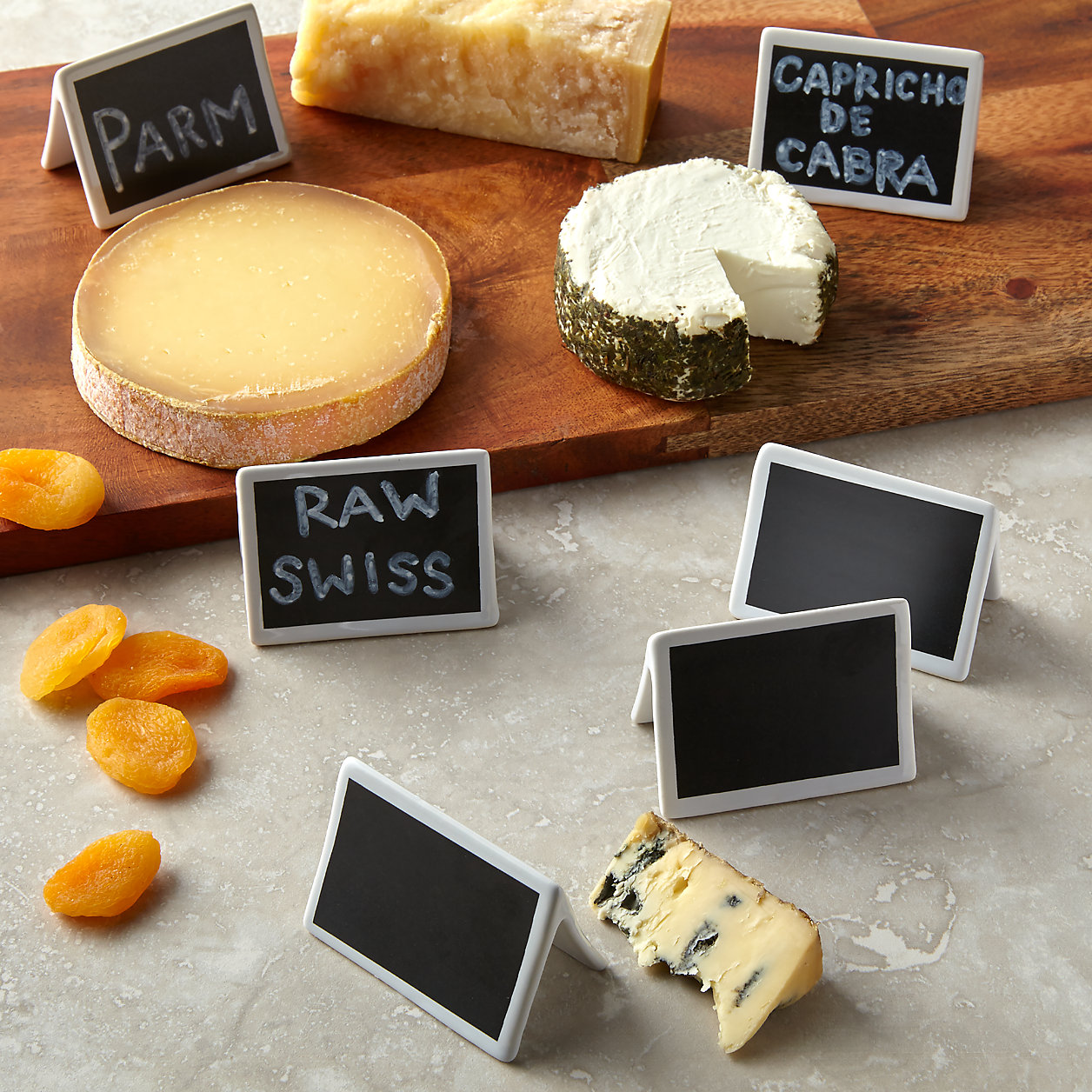 Crate and Barrel Mini Chalkboard Stands with pieces of cheese