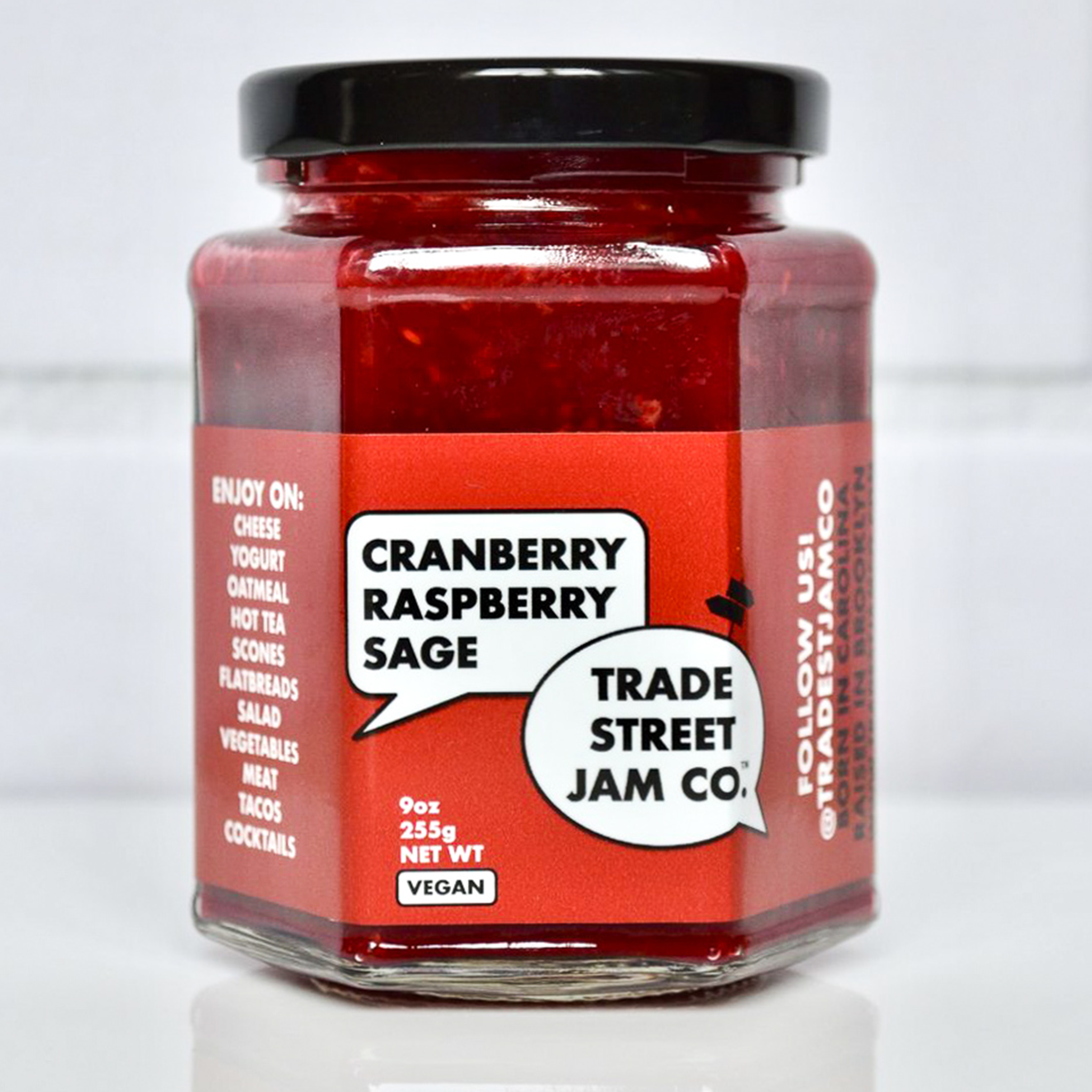 Trade Street Jam Co Cranberry Jam in glass jar with red label