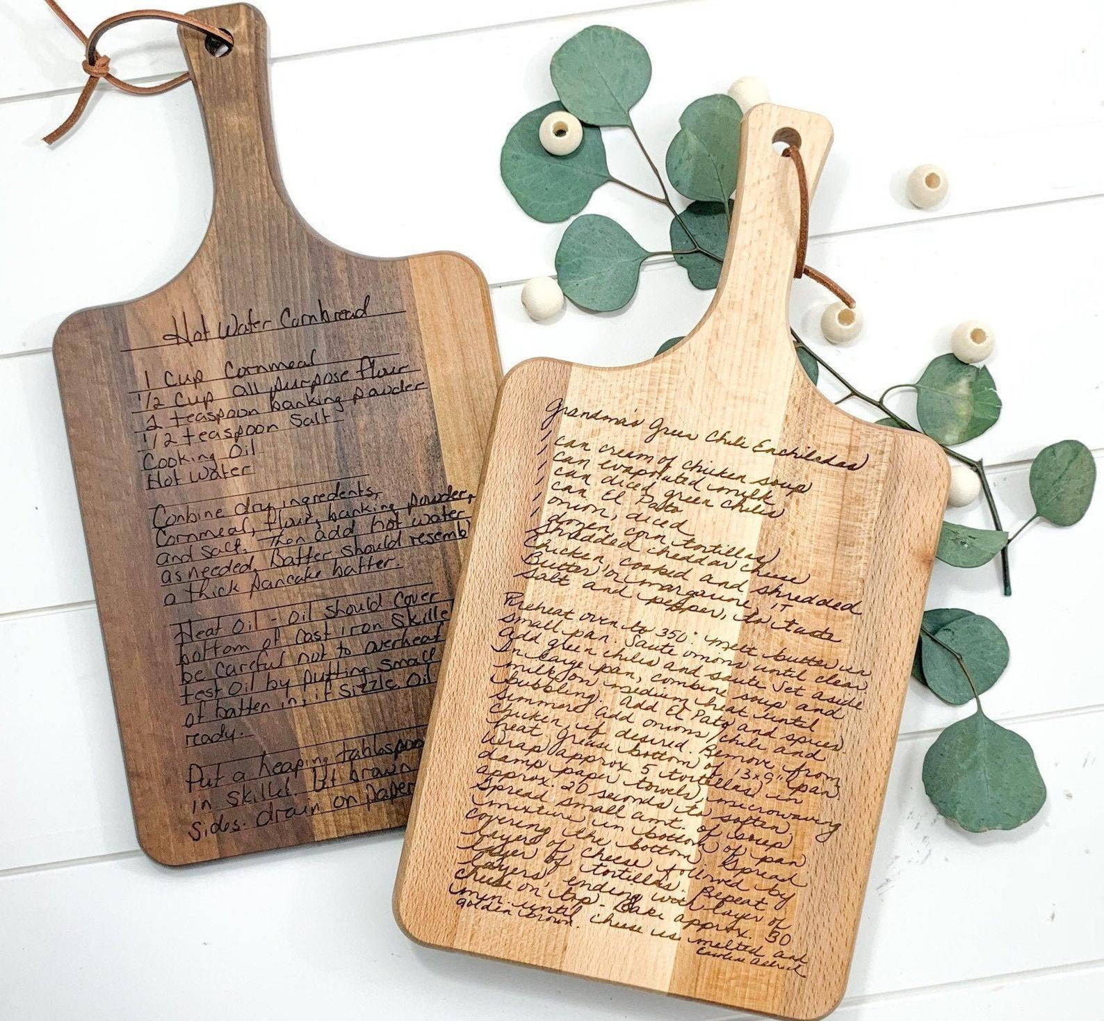 two Morning Joy Co Recipe Cutting Board in different wood stains