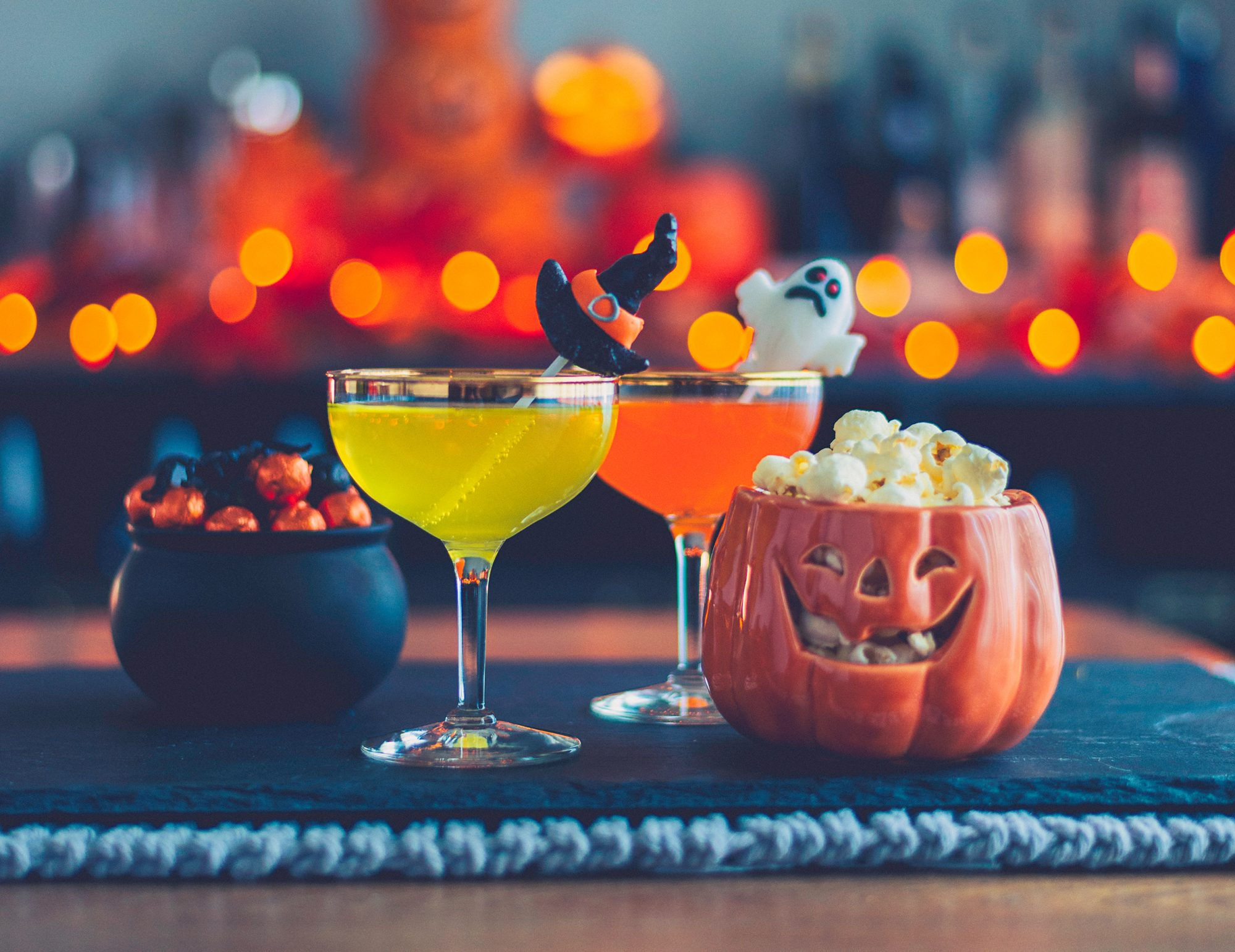 Halloween drinks, candy, and popcorn