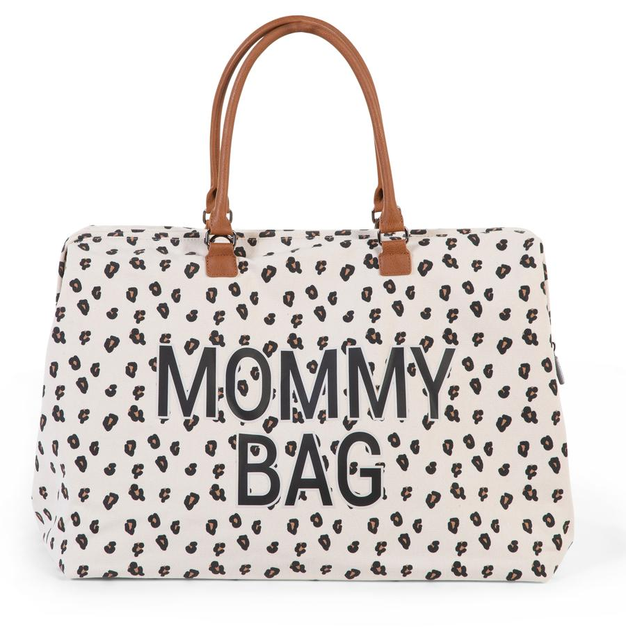 "Large diaper bag with leopard print that says ""Mommy Bag"""