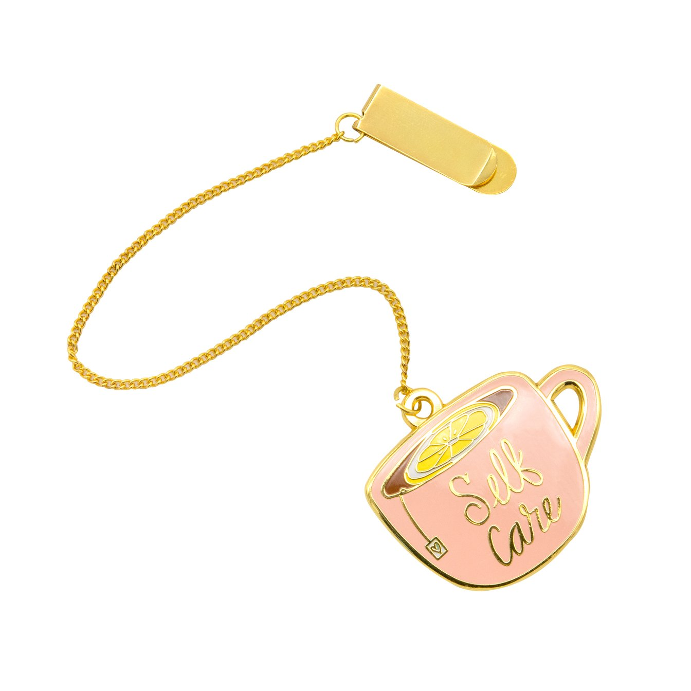 Tea cup charm with gold chain and bookmark clip