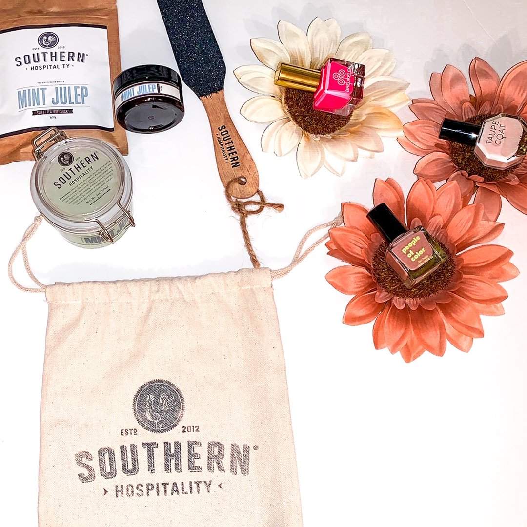 Set of southern hospitality products including nail polish, bath soak, and other bath products