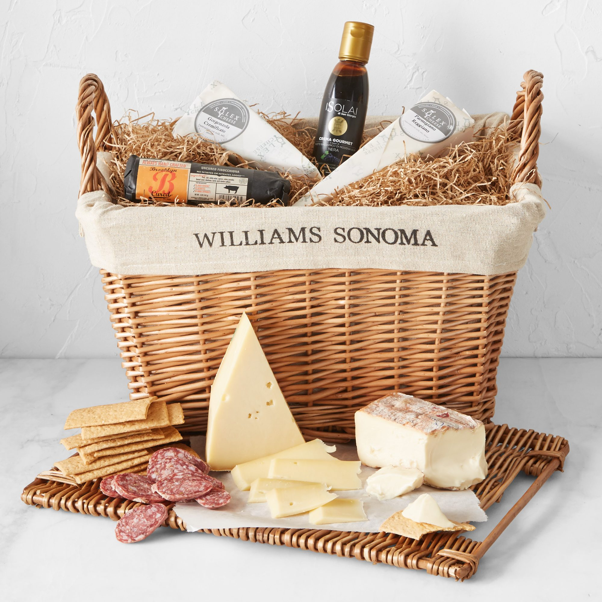 Williams Sonoma Savory Hamper with meats, cheeses, and crackers