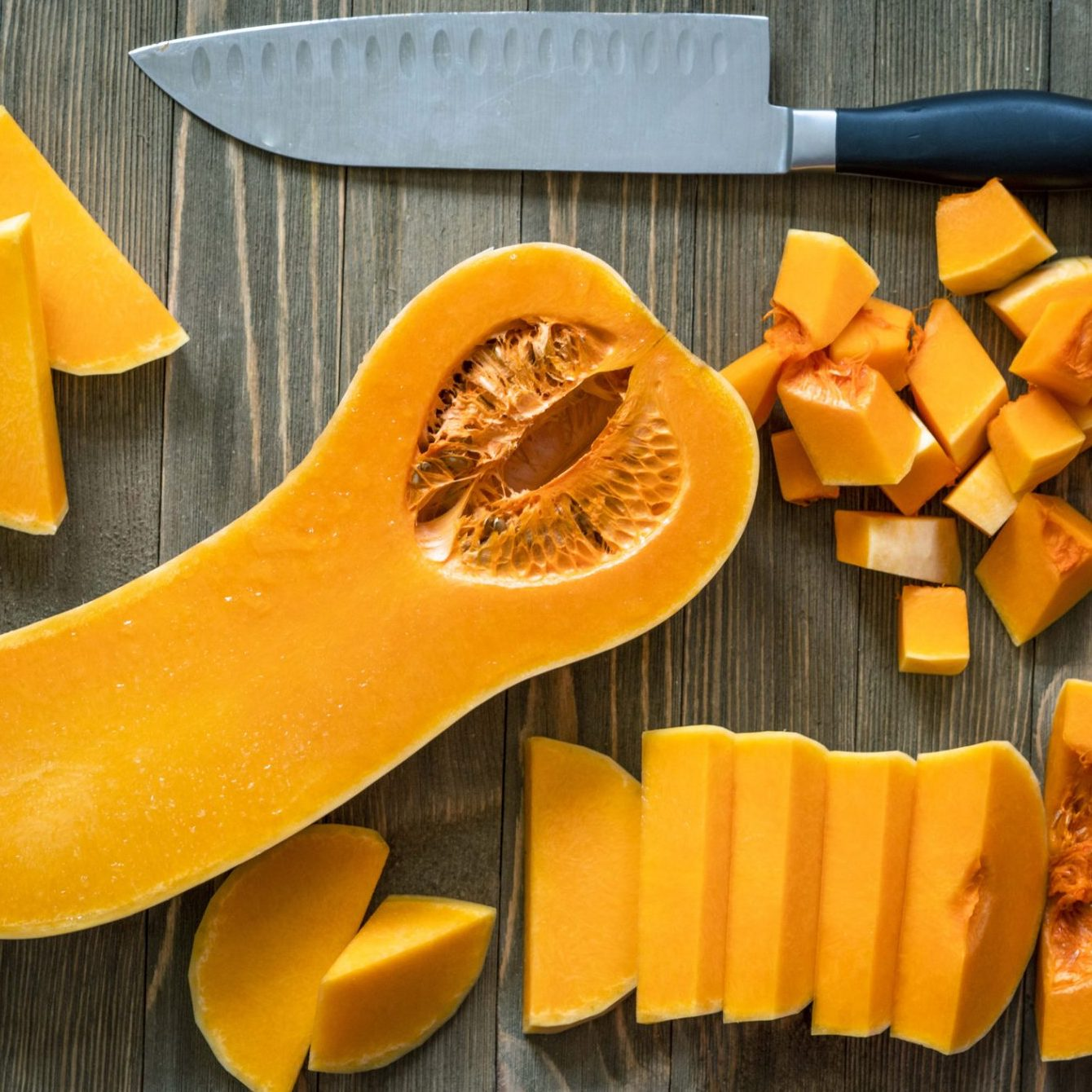 butternut squash sliced and cubed