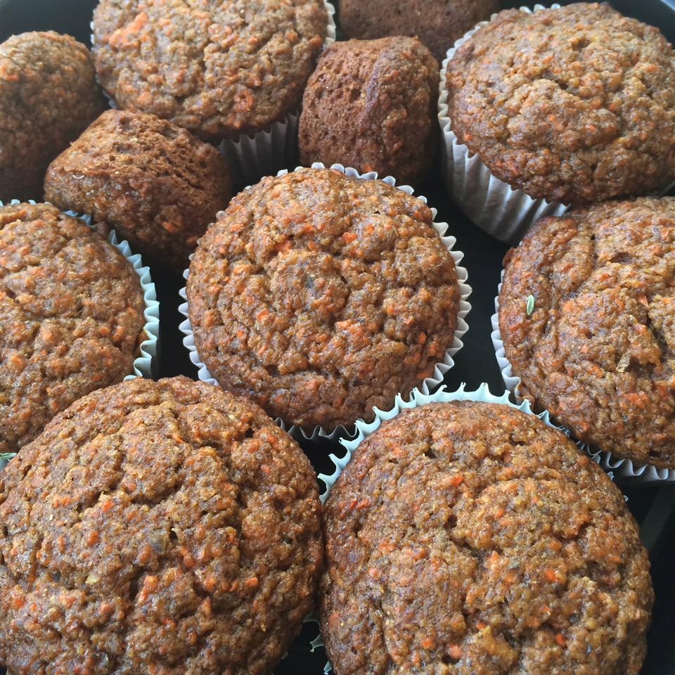 Close up of Vegan Apple Carrot Muffins