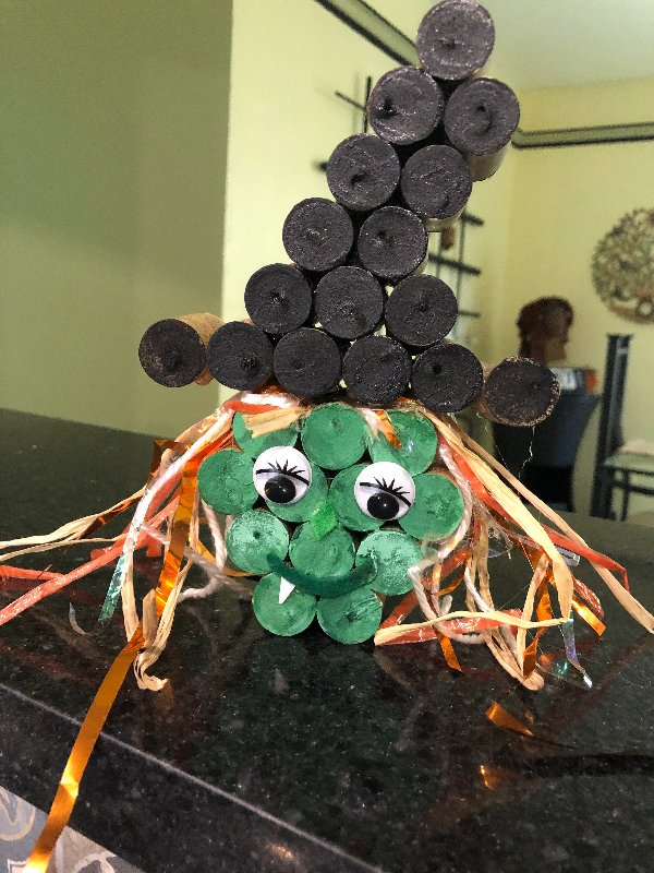 Halloween witch decoration made from wine corks