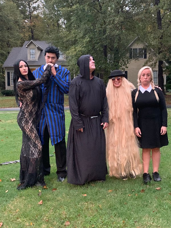 friends dressed up like characters from The Addams Family