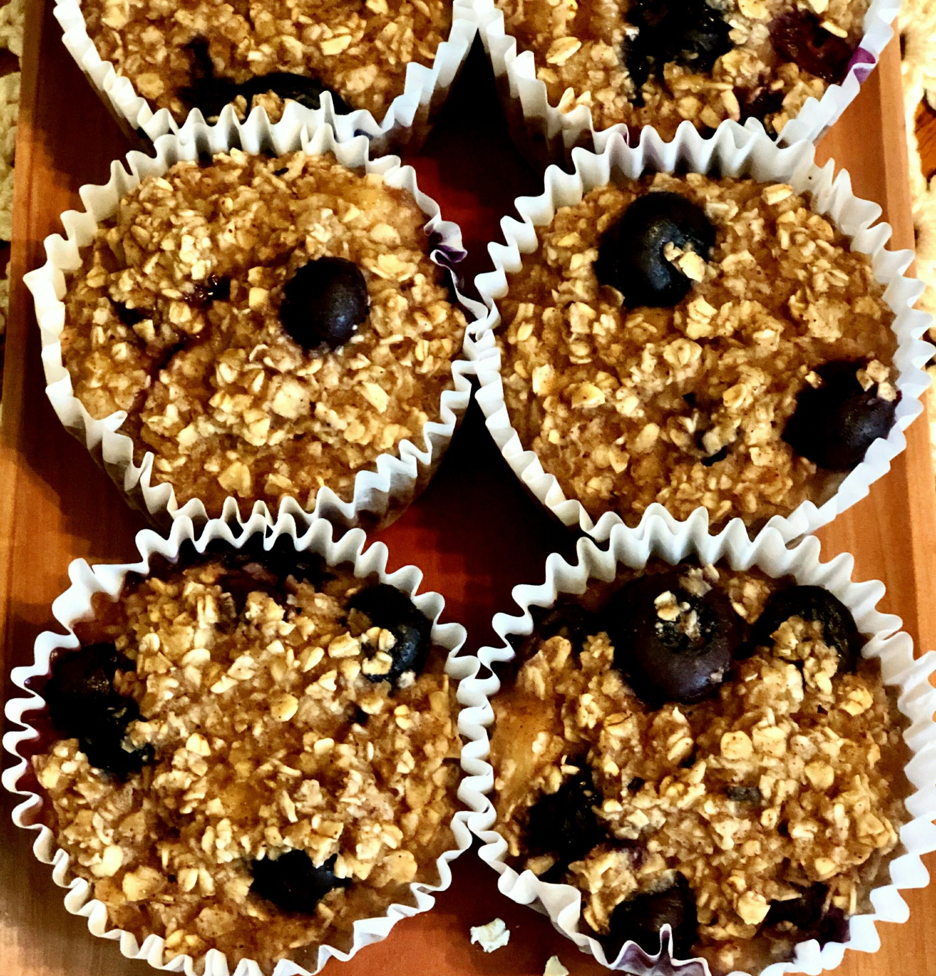 Close up of Vegan Blueberry and Banana Oatmeal Muffins