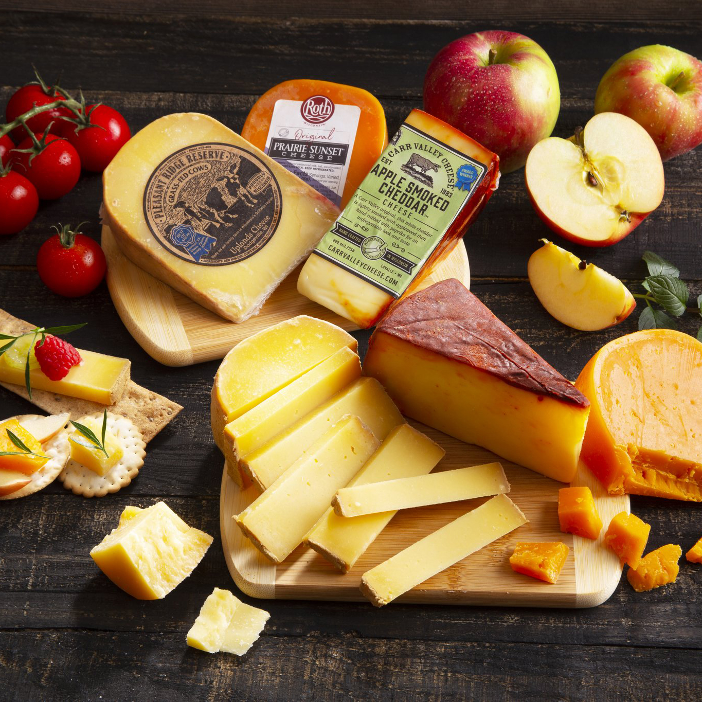 Wisconsin Artisan Award Winners Cheese Board surrounded by fruit and crackers