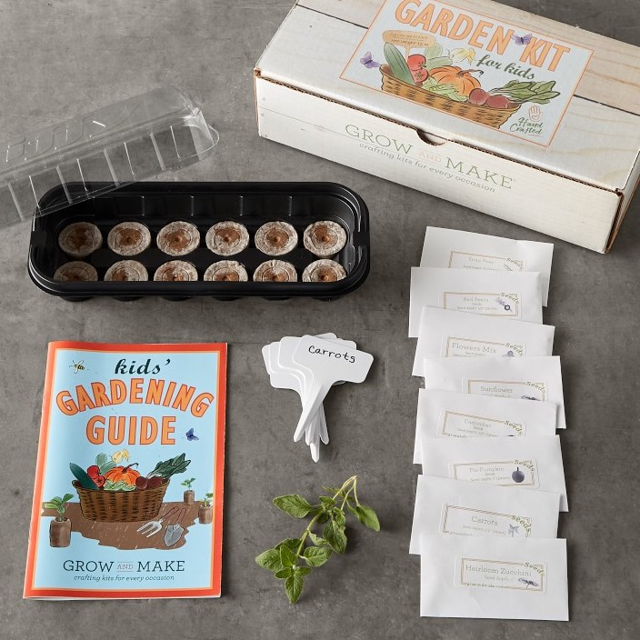 gardening kit for kids with seeds for flowers, herbs, and vegetables