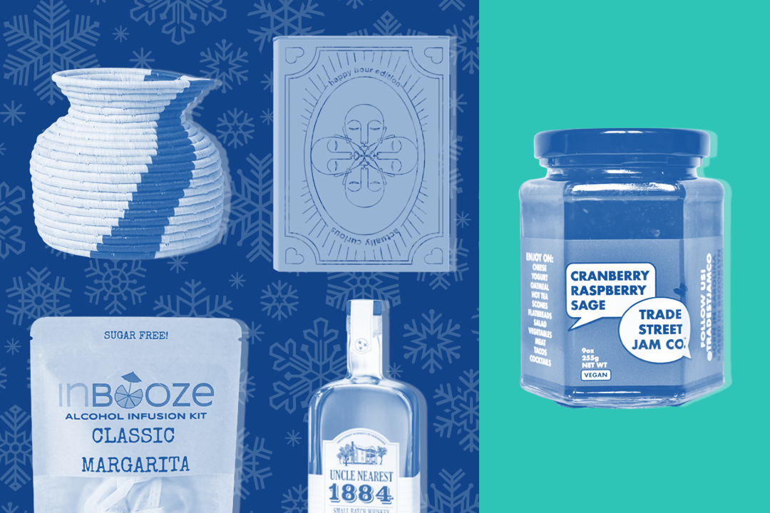 Utensil holder, deck of cards, jam, whiskey, and margarita infusers on blue background