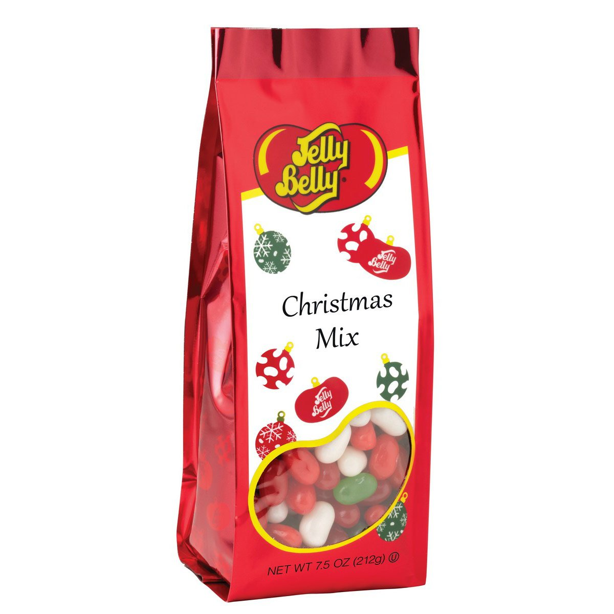 Bag of Jelly Belly red and green jelly beans in red packaging