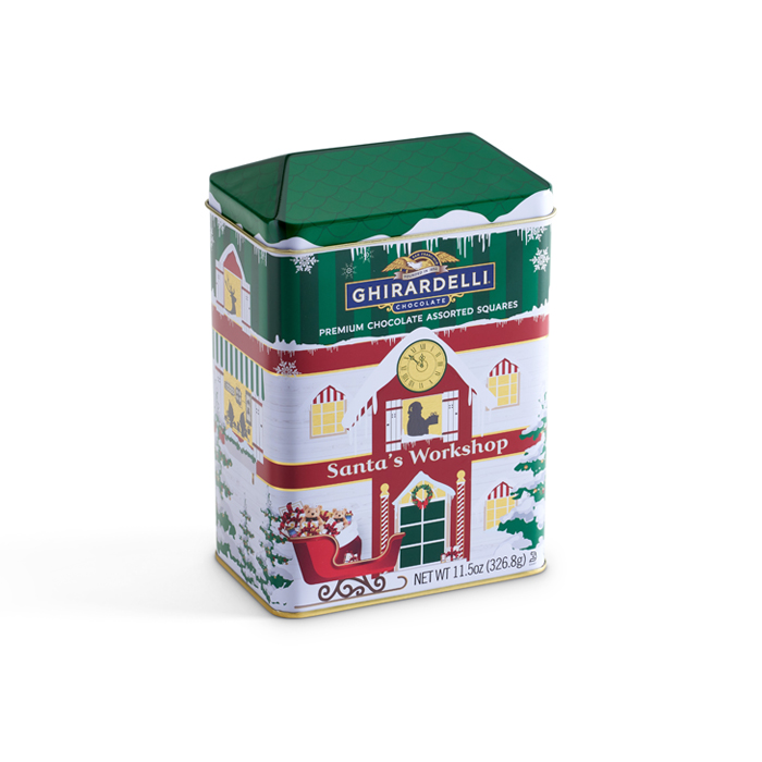 Metal tin shaped like Santa's workshop