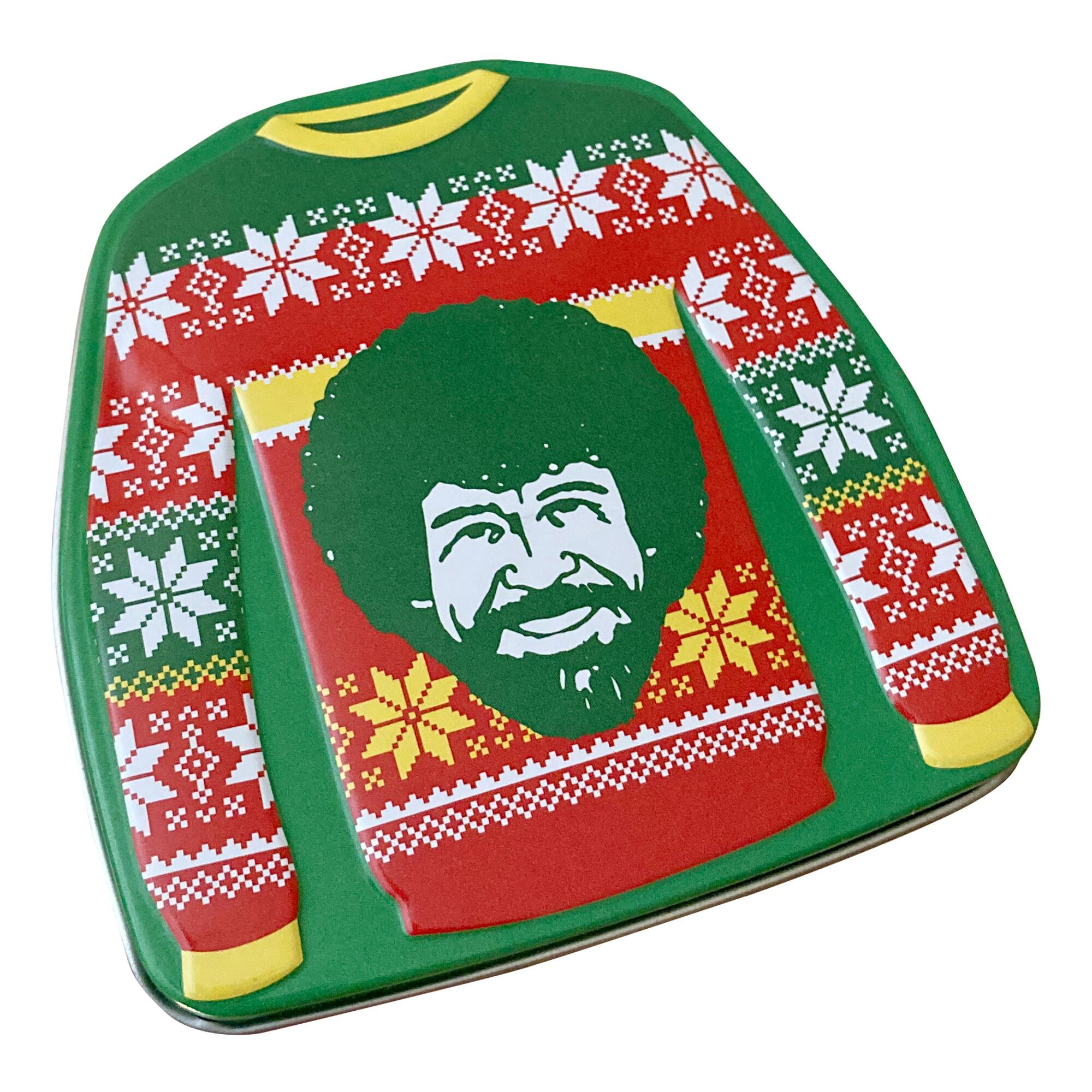 Metal candy tin shaped like a sweater with Bob Ross on it