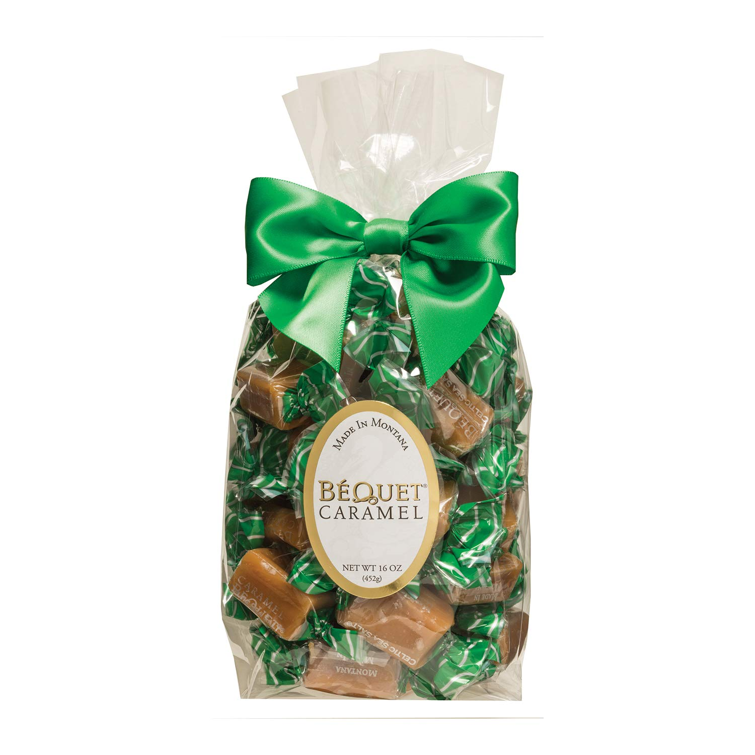 Bag with caramels in green wrapping