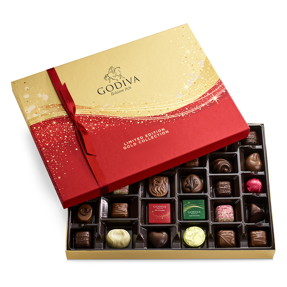 Red and gold box of godiva chocolates