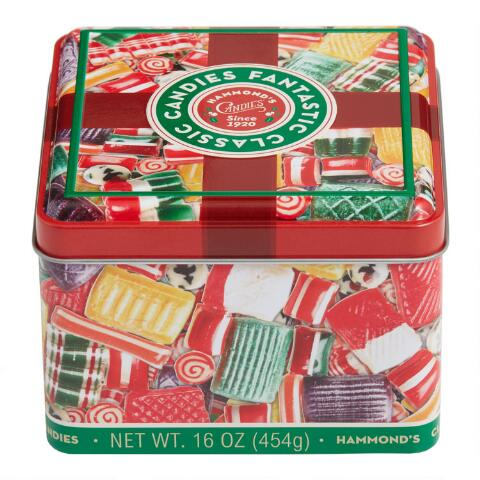 Metal tin with hard candy print