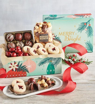 Festive box of holiday truffles and cookies
