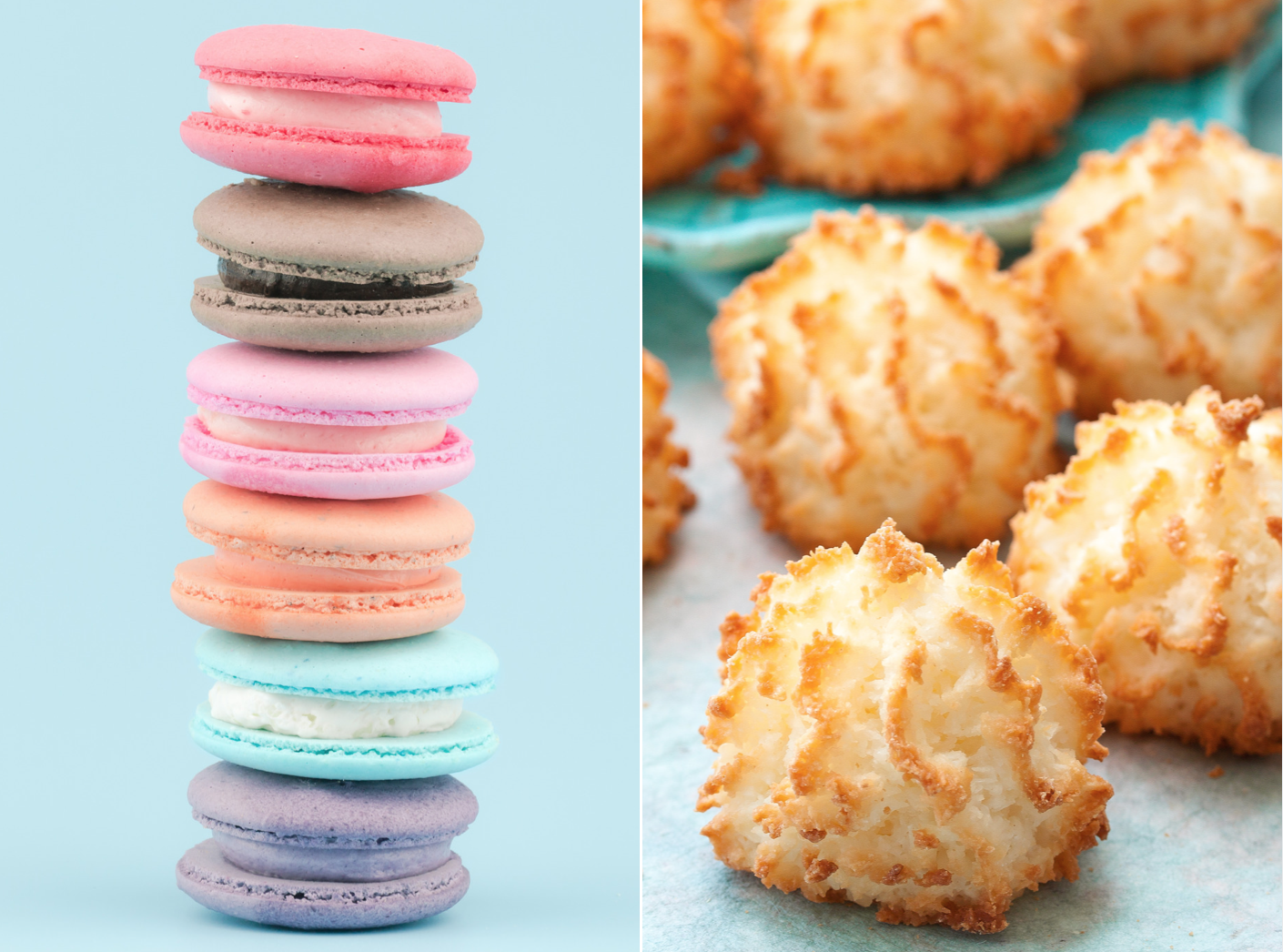 colorful French macarons and coconut macaroons