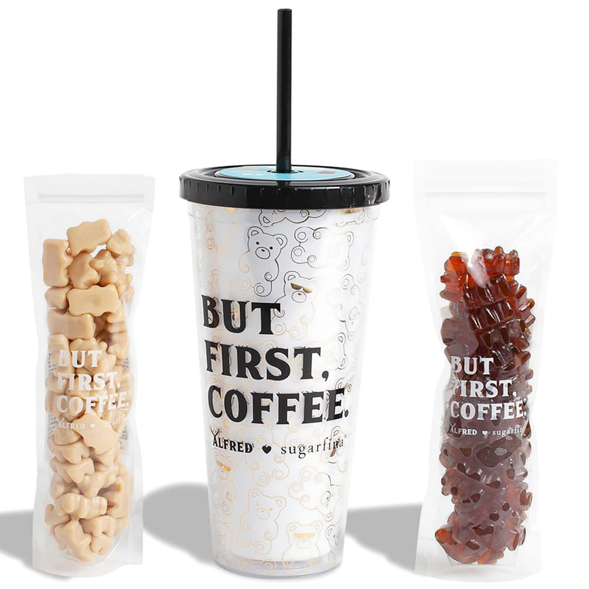 Sugarfina gummy bears and white coffee tumbler