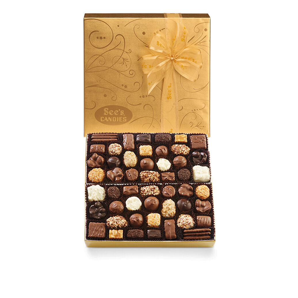 Gold box of assorted chocoaltes