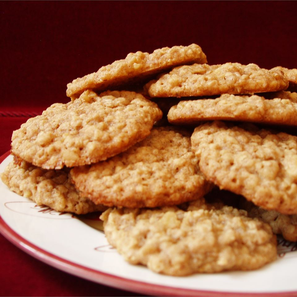 chewy oatmeal cookies on a white plate