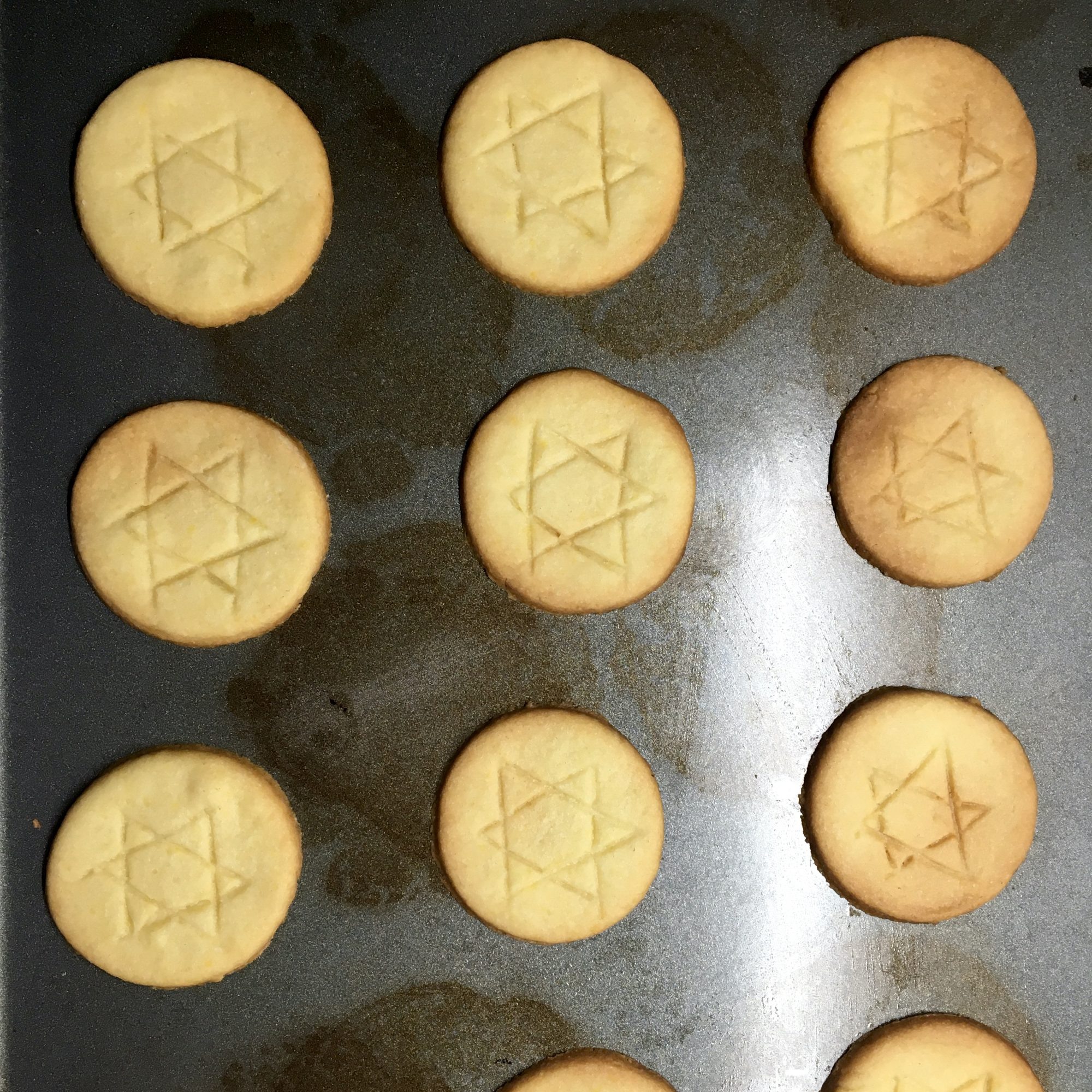 tray of Chanukah Cookies with Star of David design