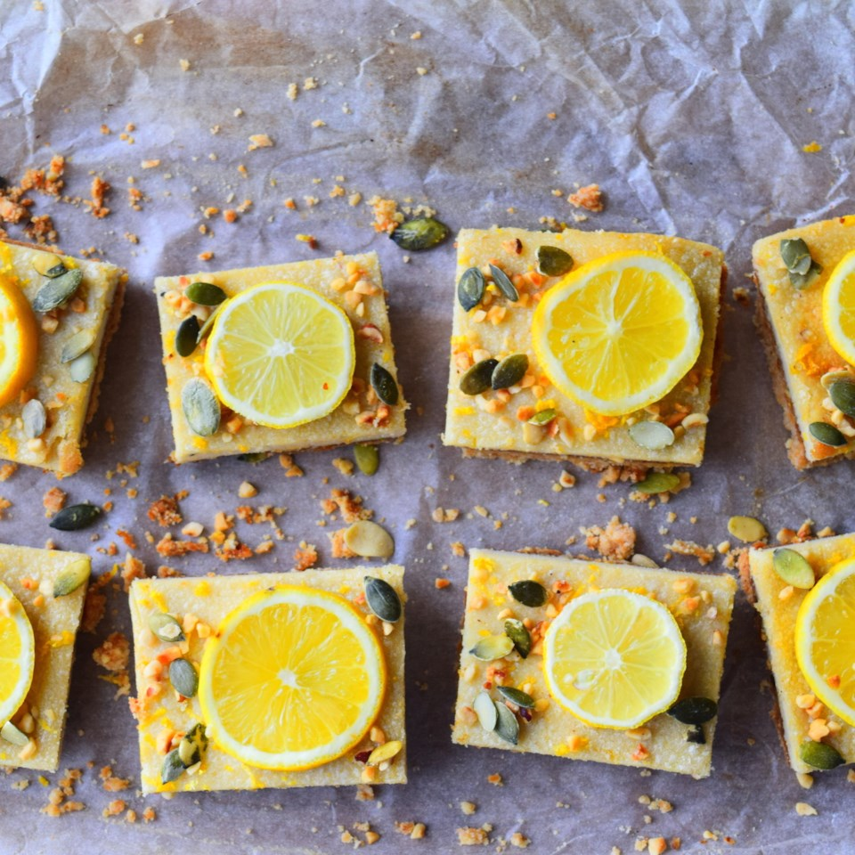 Lemon and Almond Slices on a grey background