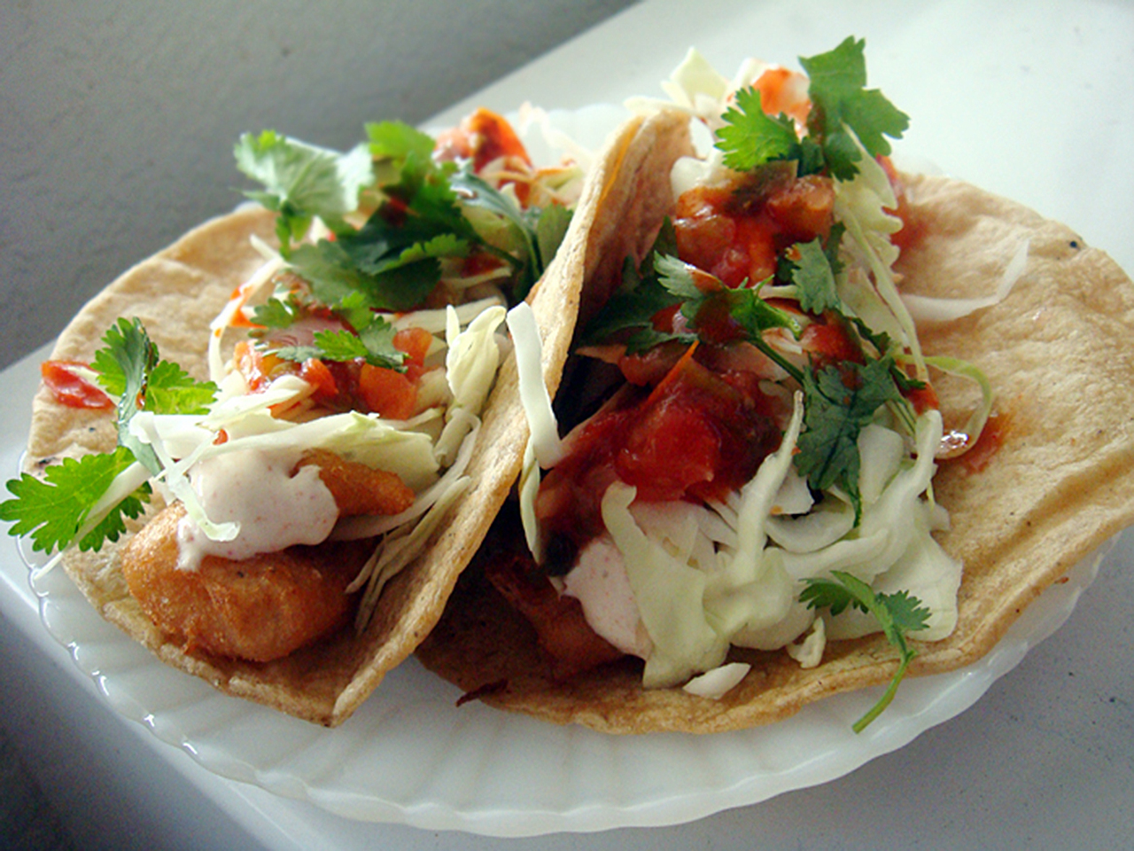 Fish Tacos on a white plate