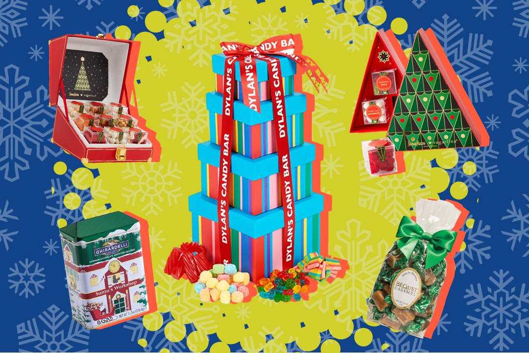 Five different candy gift sets on blue and green holiday background
