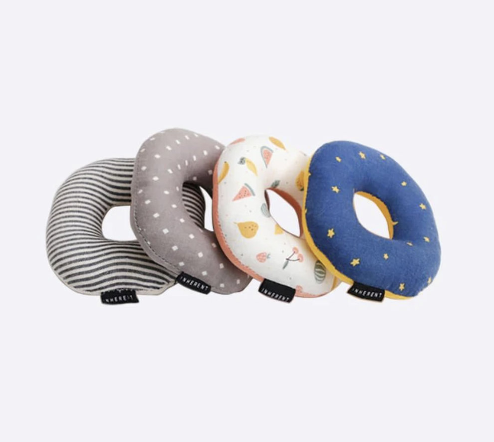 Set of four cat toys shaped like donuts