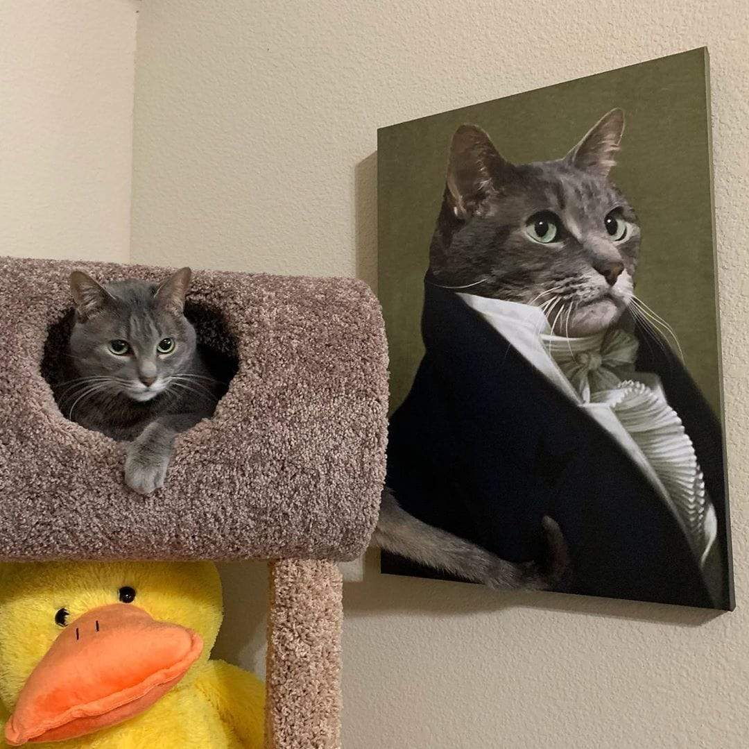 Cat in cat tower next to portrait of cat next to it
