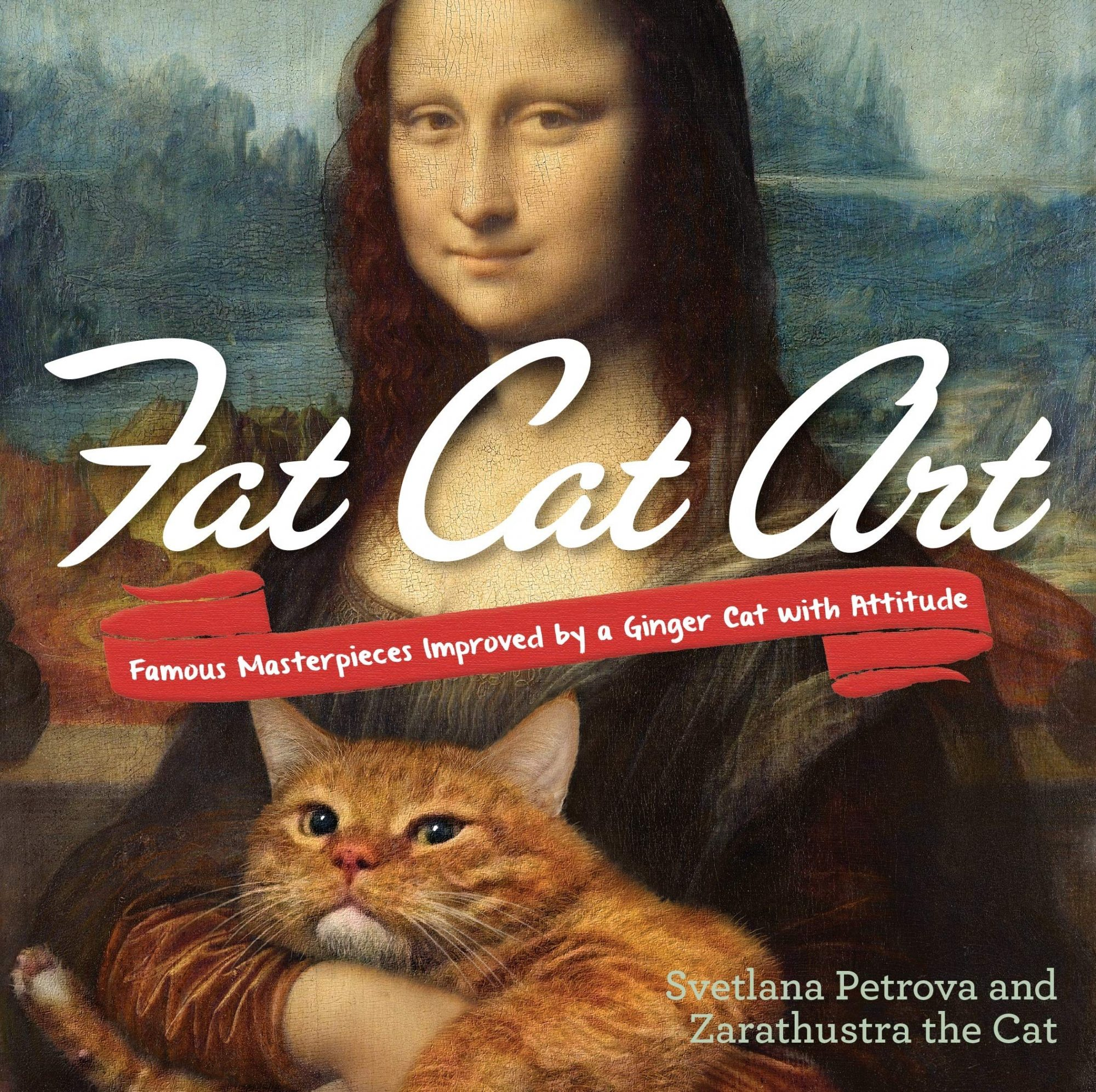 Cover of book with Mona Lisa and fat cat on it