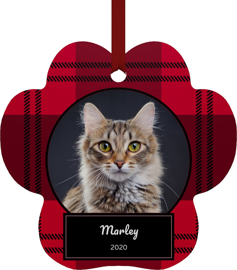Red and black plaid ornament with cat on front