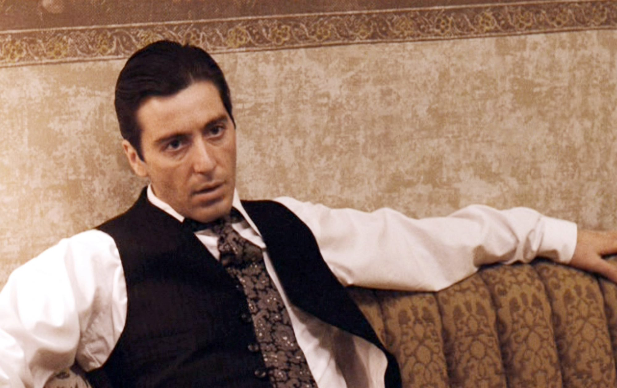 """LOS ANGELES - DECEMBER 20: The movie """"The Godfather: Part II"""", directed by Francis Ford Coppola, based on the novel 'The Godfather' by Mario Puzo. Seen here, Al Pacino as Don Michael Corleone. Initial theatrical wide release December 20, 1974. Screen capture. Paramount Pictures. (Photo by CBS via Getty Images)"""