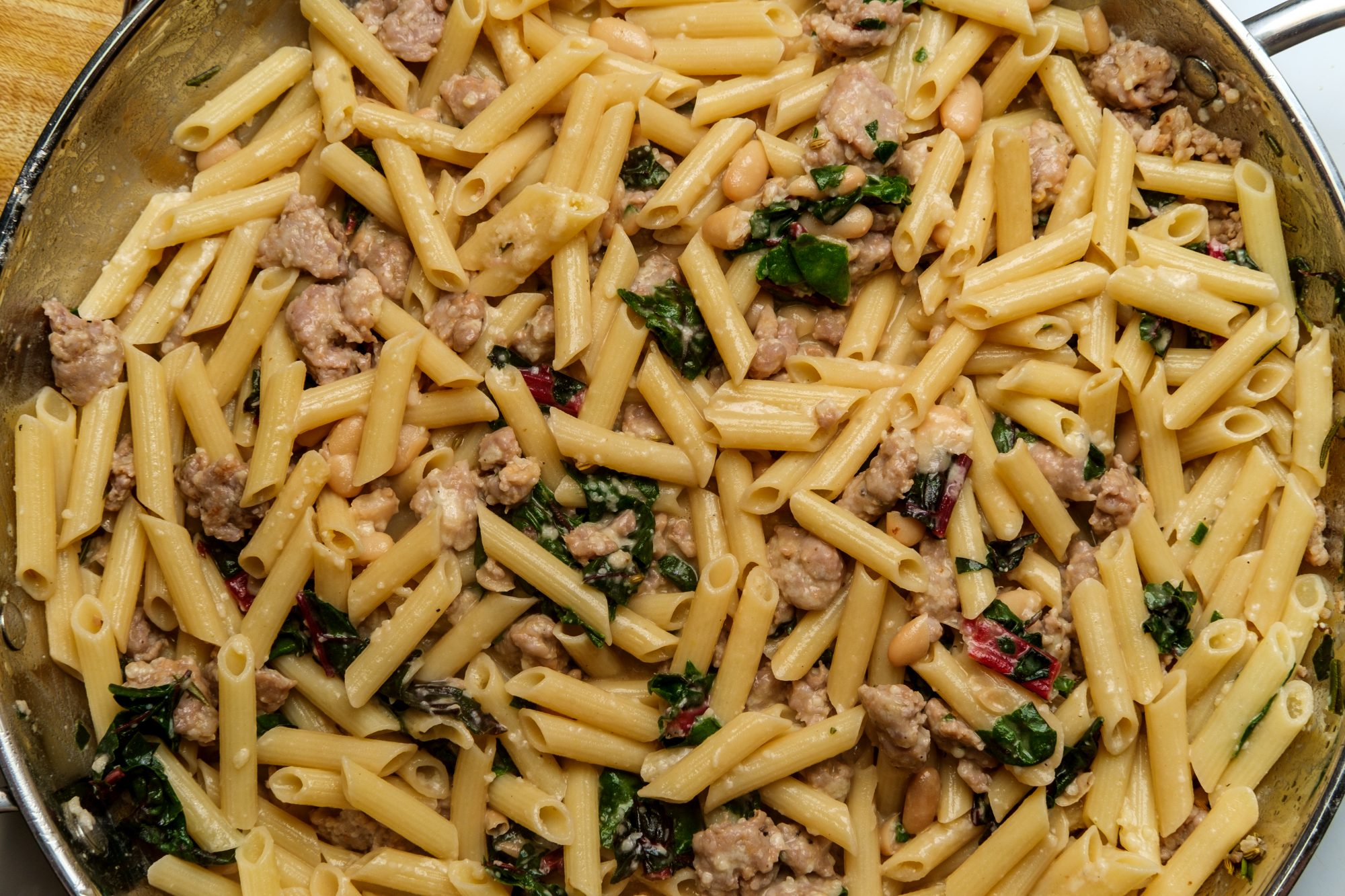 Skillet of penne and sausage pasta