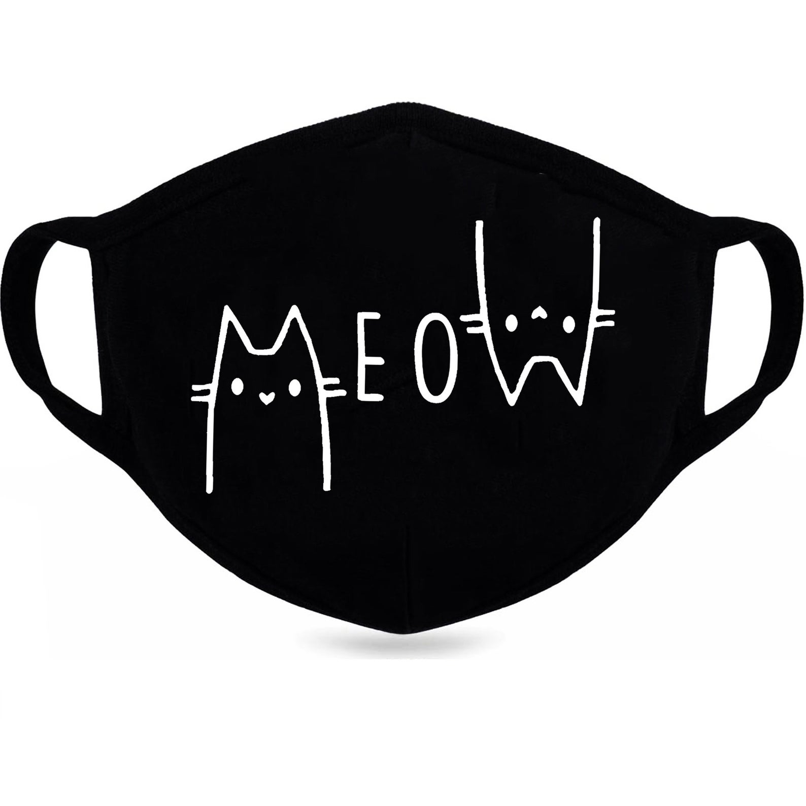 """Black cat mask that says """"MEOW"""""""