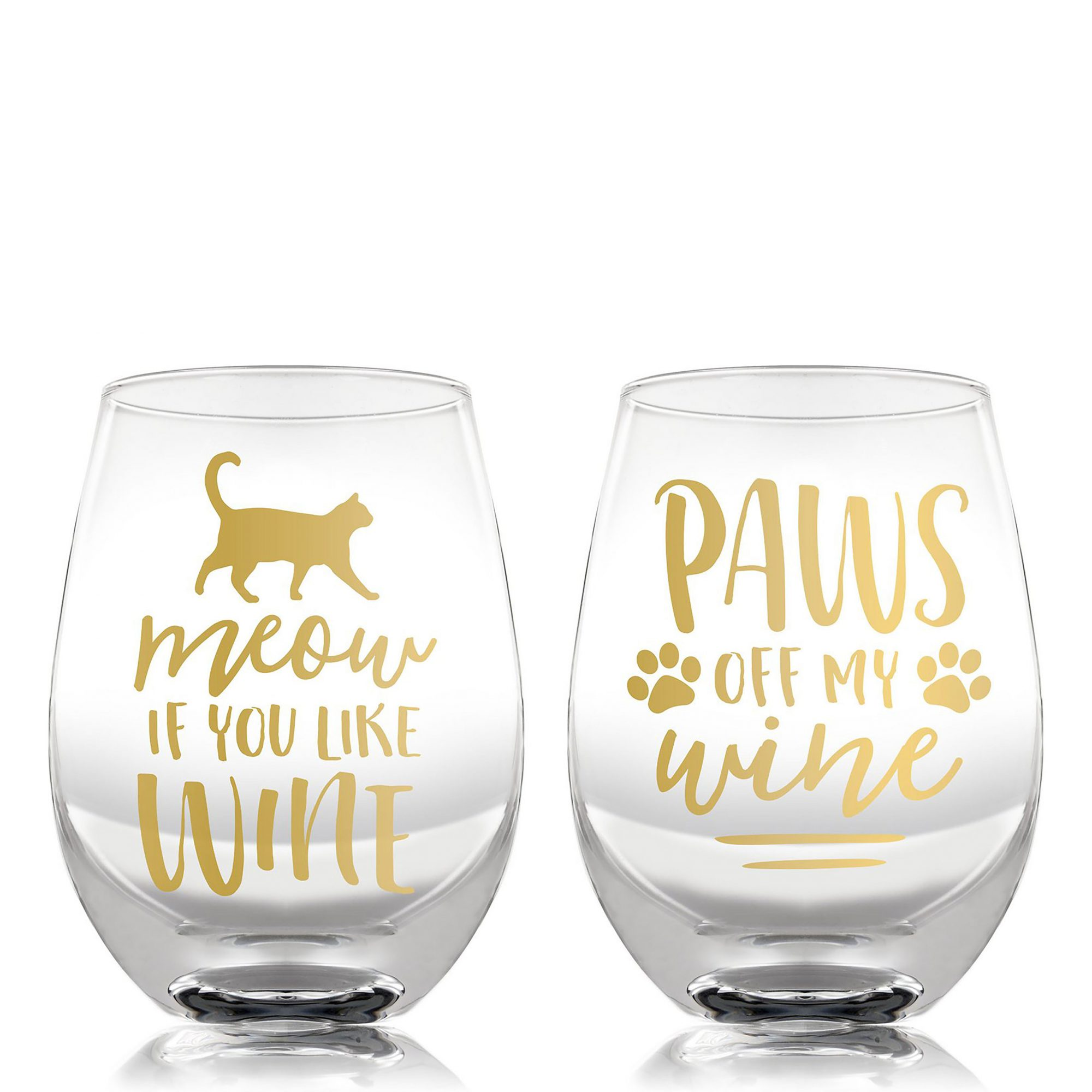 Set of two stemless wine glasses with gold lettering