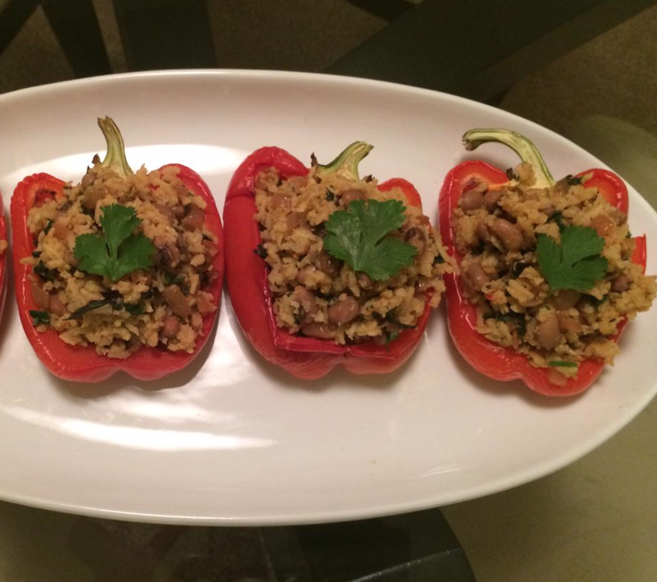 stuffed bell peppers with rice and black eyed peas