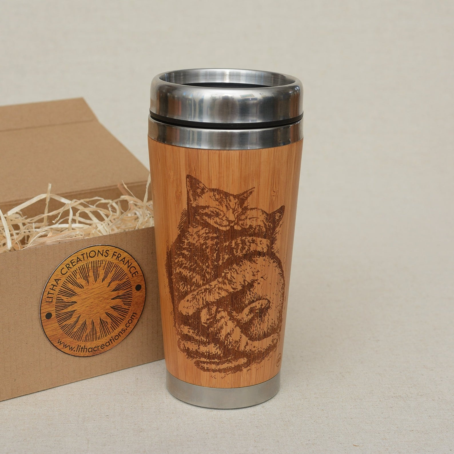 Wooden mug with engraved cat photo on it