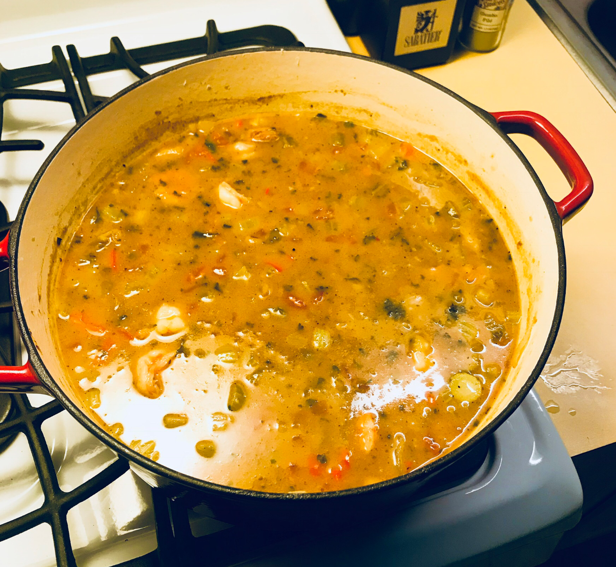 pot of gumbo with black eyed peas on stove
