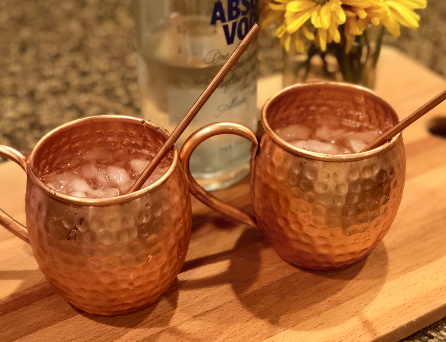 two copper mugs of keto moscow mules