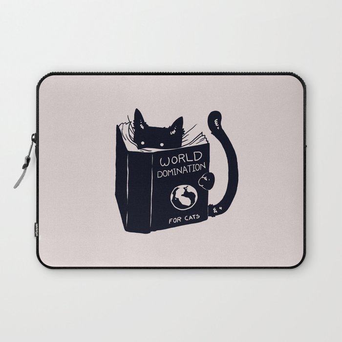 Pink laptop sleeve with black graphic of cat reading a book