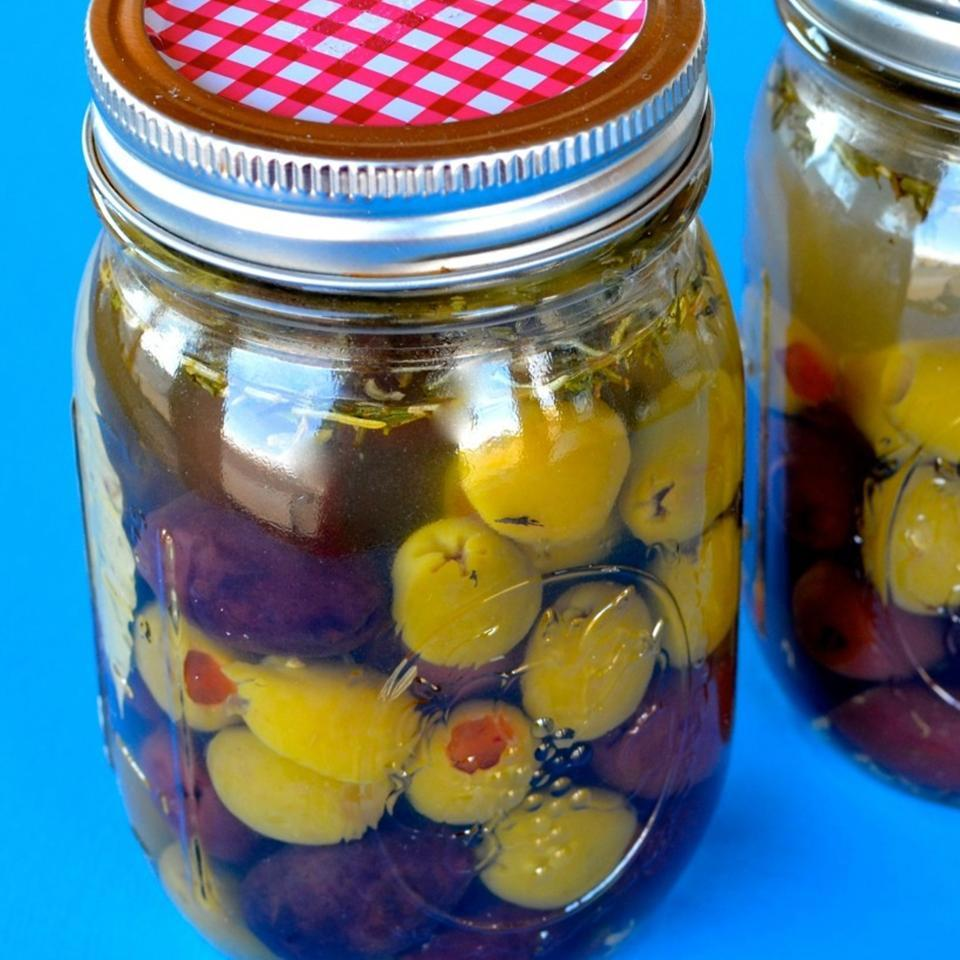 two jars of marinated olives