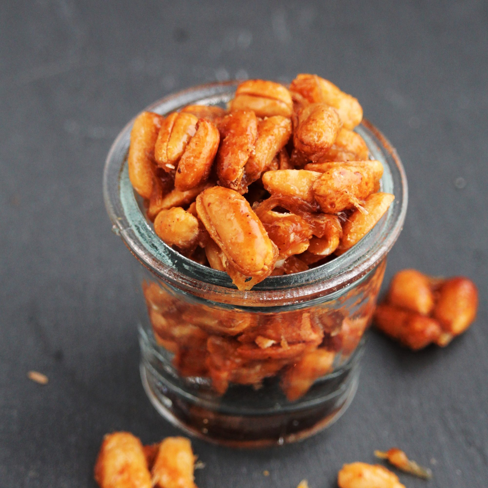 candied nuts in a glass jar